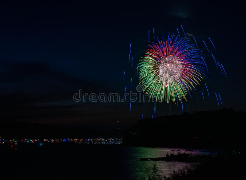 Fireworks over Lake Wallenpaupack in Hawley, PA for the 4th of July royalty free stock photo