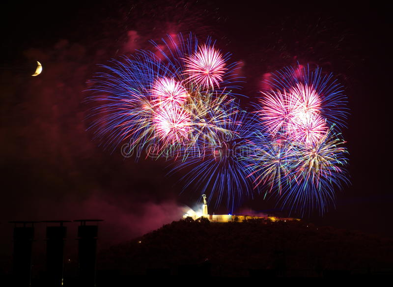 Fireworks over Liberty statue in Budapest stock photos