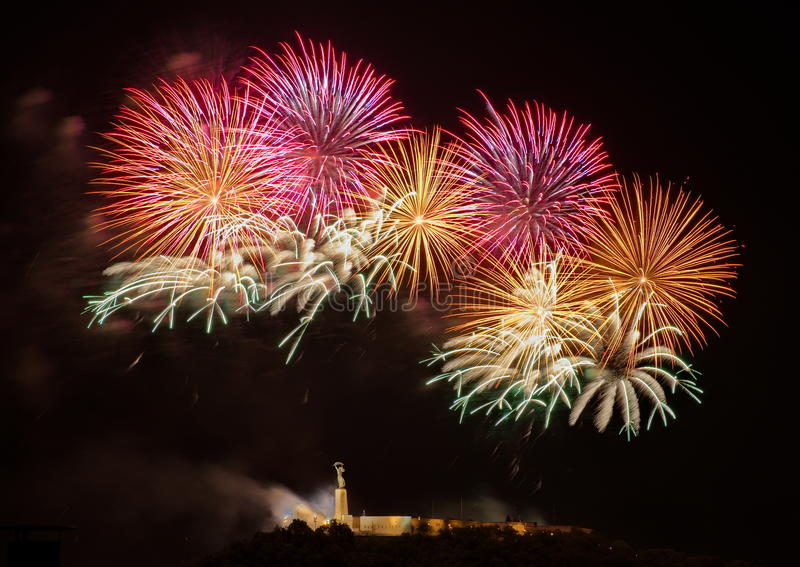 Fireworks over Liberty statue in Budapest stock image
