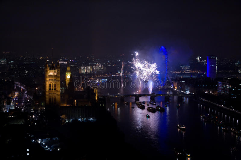 Fireworks Over London Eye And Westminster Editorial Image