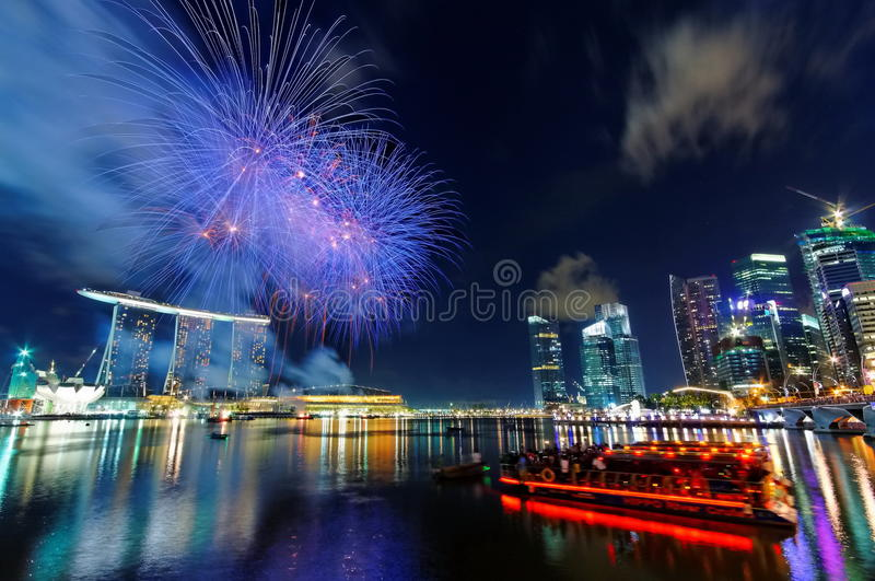 Download Fireworks over Marina Bay editorial stock photo. Image of district - 15272398