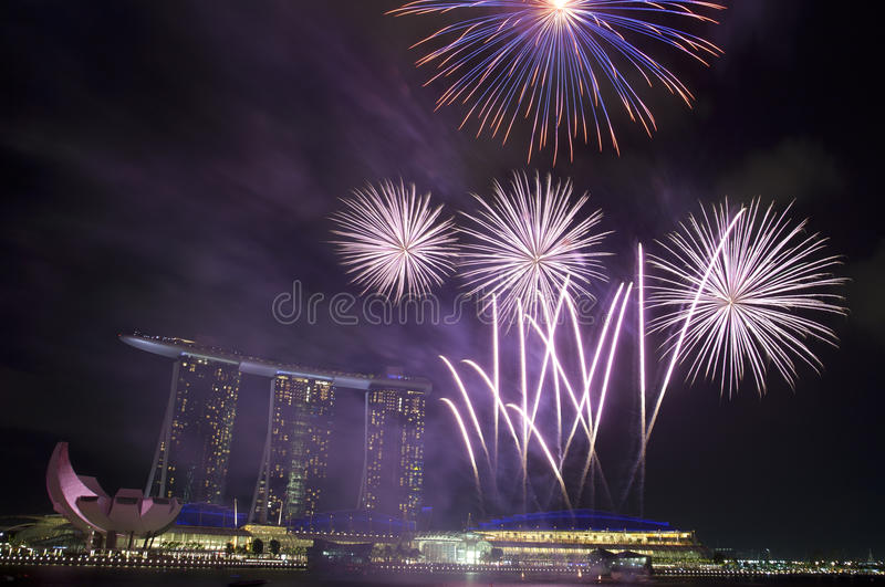 Fireworks Over Marina Bay Sands Stock Image