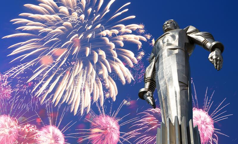 Fireworks over the Monument to Yuri Gagarin 42.5-meter high pedestal and statue, Moscow, Russia. Fireworks over the Monument to Yuri Gagarin 42.5-meter high royalty free stock photo
