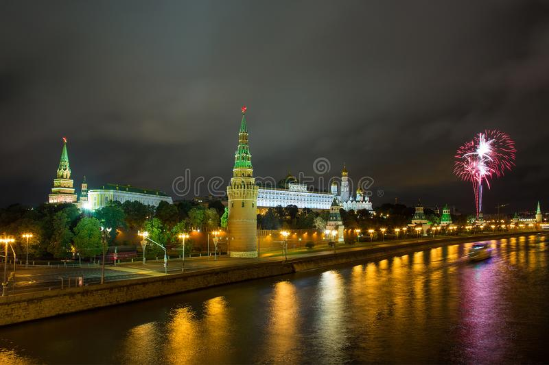 Fireworks over the Moscow Kremlin stock images