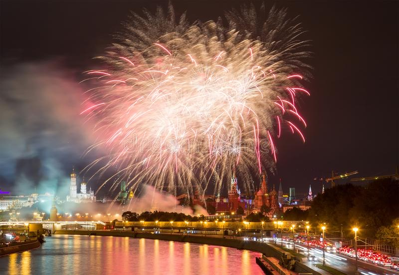 Fireworks over Moscow Kremlin stock images