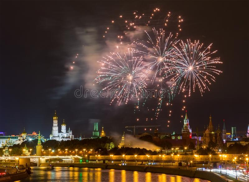 Fireworks over Moscow Kremlin royalty free stock photos