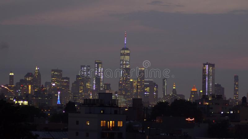 Fireworks over New York City celebrating USA Independence Day royalty free stock photography