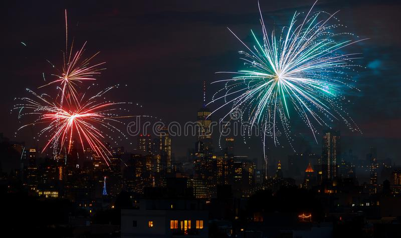 Fireworks over New York City celebrating USA Independence Day royalty free stock image