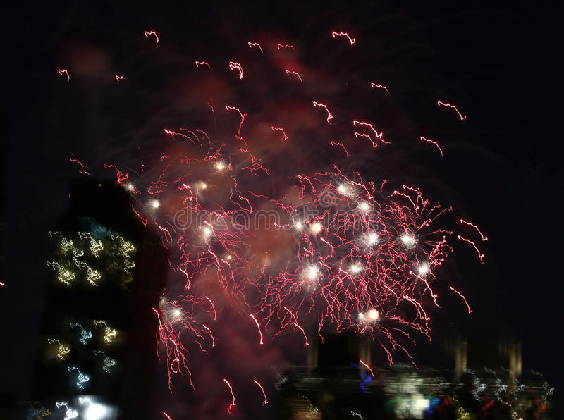 Fireworks over New York City stock image