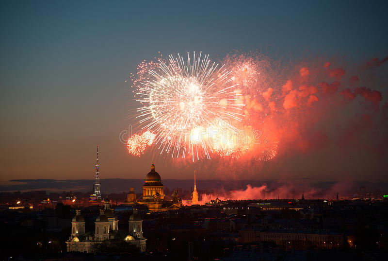 Fireworks over night city Saint Petersburg. Russia. royalty free stock photo