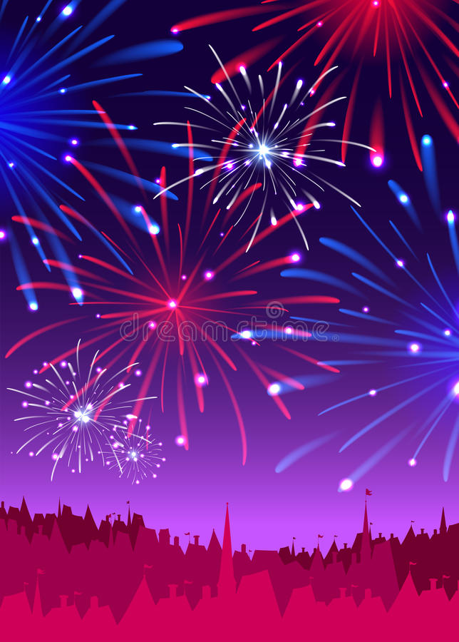 Fireworks over a night city vector illustration