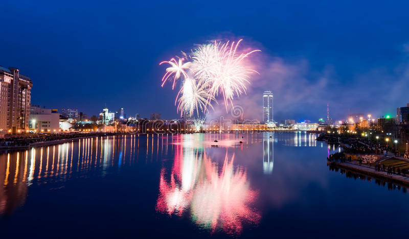 Fireworks over night city royalty free stock photo