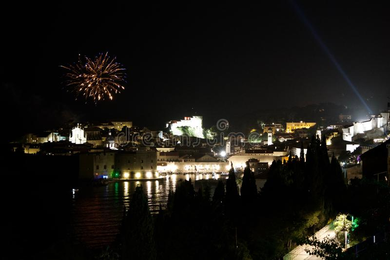 Fireworks over the old town of Dubrovnik royalty free stock images