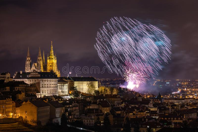 Fireworks over the Old Town of Prague, Czech Republic. New Year fireworks in Prague, Czechia. Prague fireworks during New Year stock photo