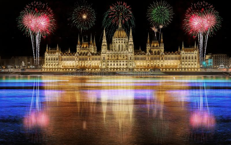 Fireworks over the Parliament building in Budapest, Hungary.  royalty free stock photography