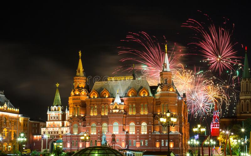 Fireworks over Red Square and Historical Museum in Moscow. stock images