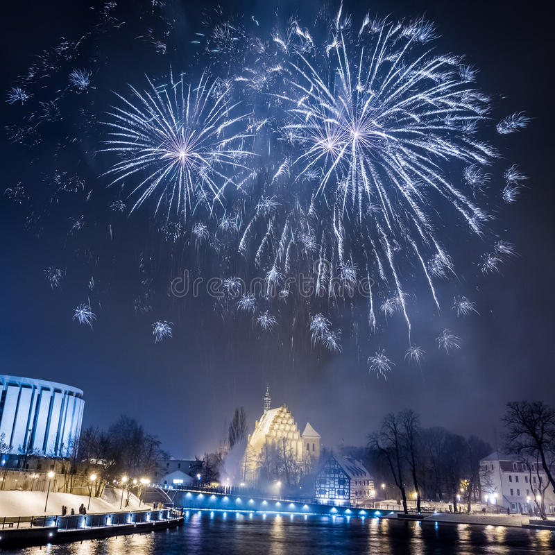 Fireworks over the river royalty free stock photo