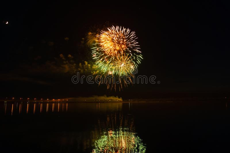 Fireworks over the river royalty free stock photography