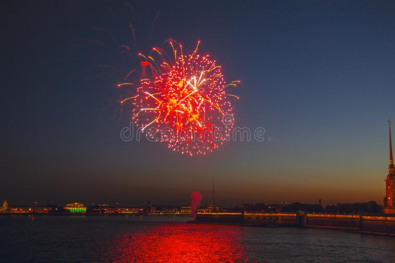 Fireworks over the river royalty free stock images