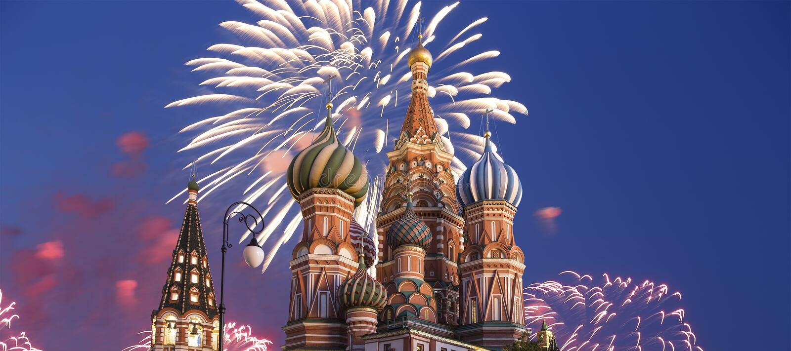 Fireworks over the Saint Basil cathedral Temple of Basil the Blessed, Red Square, Moscow, Russia stock photo