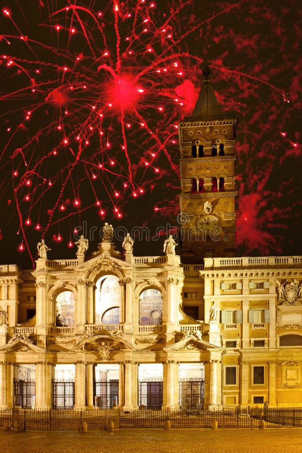 Fireworks over Santa Maria maggiore,Italy. Rome. Celebratory fireworks over Santa Maria maggiore,Italy. Rome stock photography