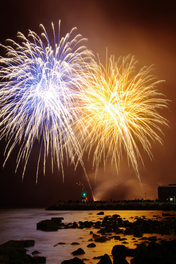 Download Fireworks over sea stock image. Image of background, explosive - 14856307