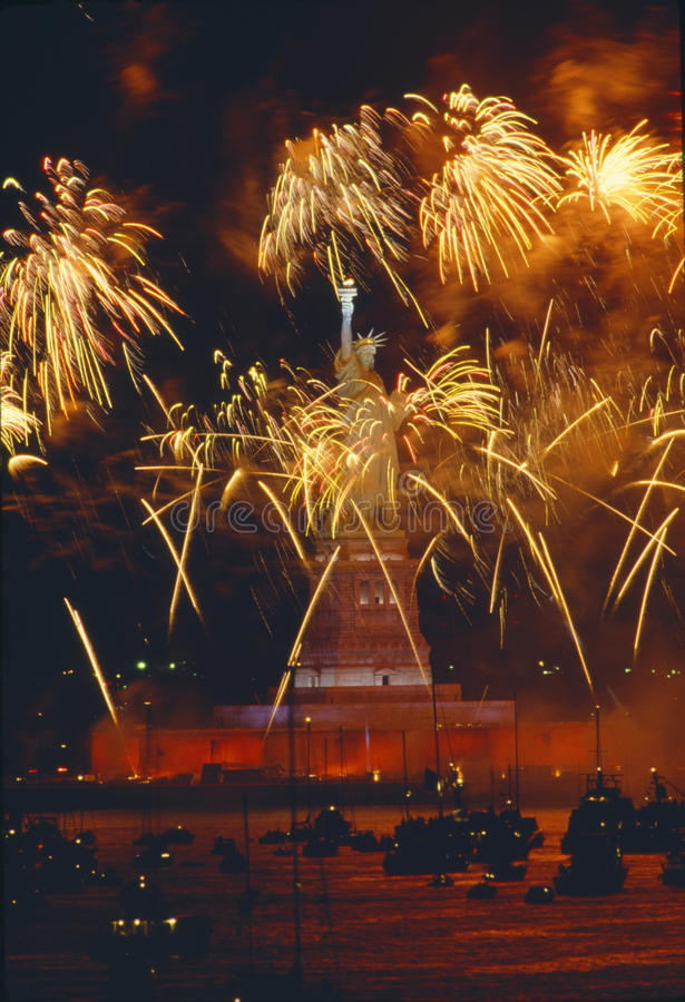 Fireworks over Statue of Liberty royalty free stock images