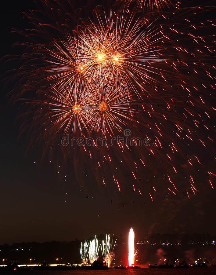 Fireworks over Swan River, Perth stock images