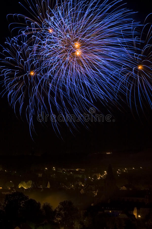 Fireworks over a town royalty free stock photo