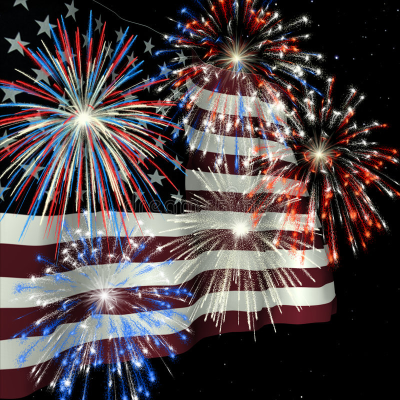 Fireworks over US Flag 1 royalty free stock images