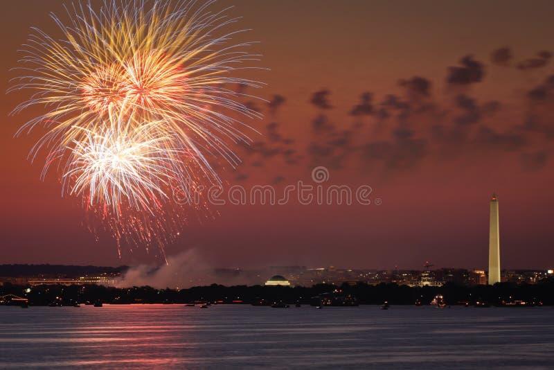 Fireworks over Washington DC. Fireworks celebration over the Washington skyline with Washington Monument visible stock photo