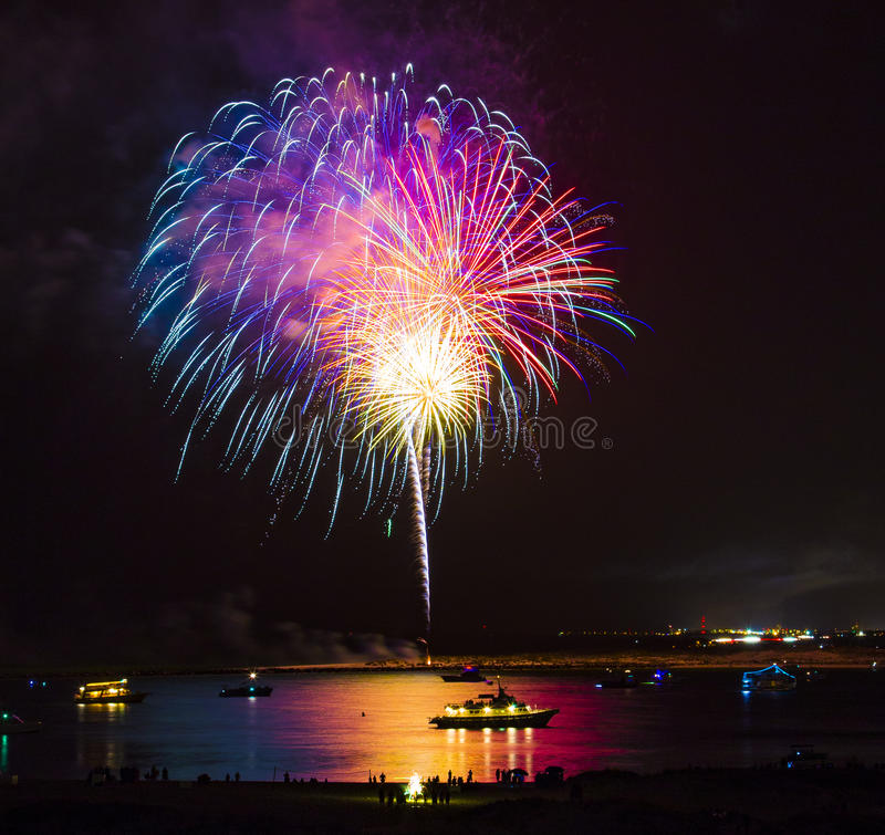 Fireworks Over Water stock photography
