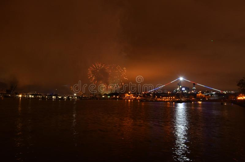 Fireworks Over Water San Diego, California Midway stock photography