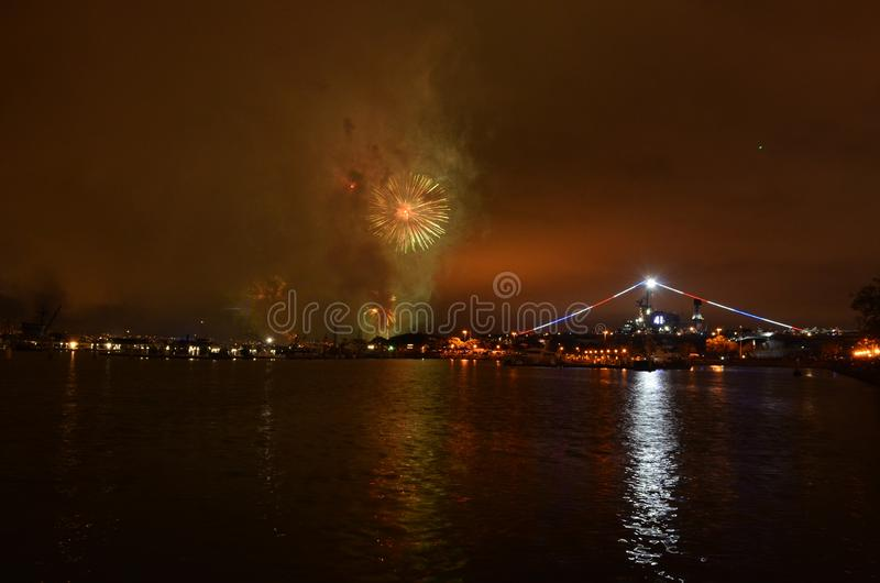Fireworks Over Water San Diego, California Midway royalty free stock photo
