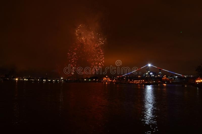 Fireworks Over Water San Diego, California Midway stock images