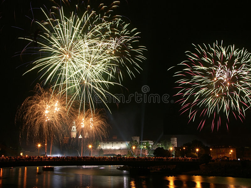Fireworks over Wawel castle in krakow royalty free stock photo