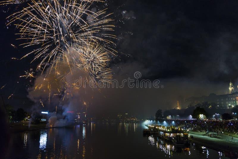 Fireworks over Wawel castle in Krakow stock image