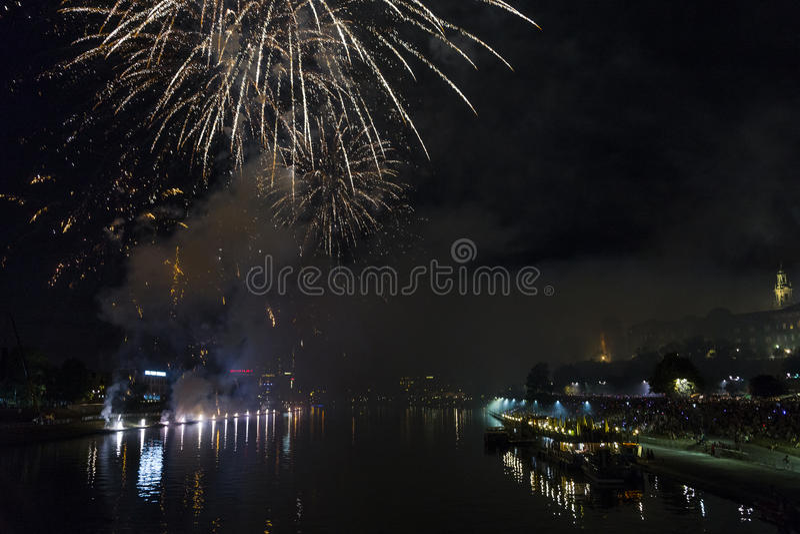 Fireworks over Wawel castle in Krakow royalty free stock image