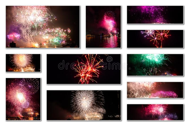 Fireworks pictures collage stock photography