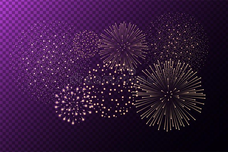 Fireworks on purple transparent background. Independence day concept. Festive and holidays background. Vector illustration stock illustration