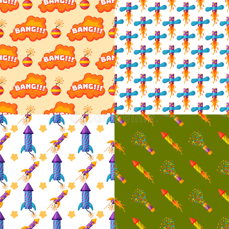 Fireworks pyrotechnics rocket and flapper birthday party gift celebrate seamless pattern vector illustration background stock illustration