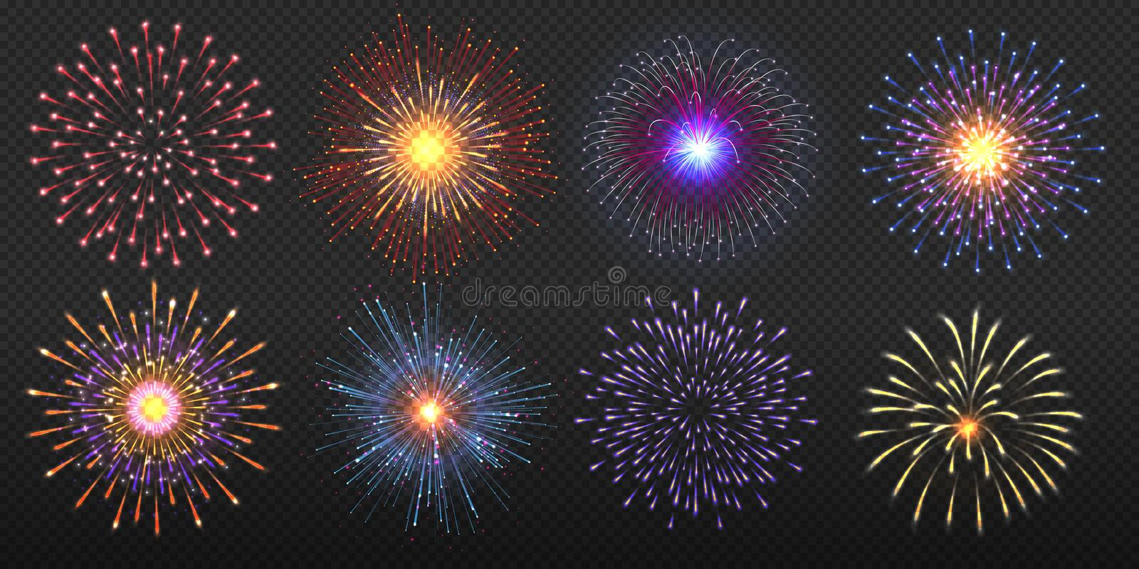 Fireworks. Realistic colorful and golden burst with brightly shining sparks, party celebration pyrotechnic. Vector light royalty free illustration