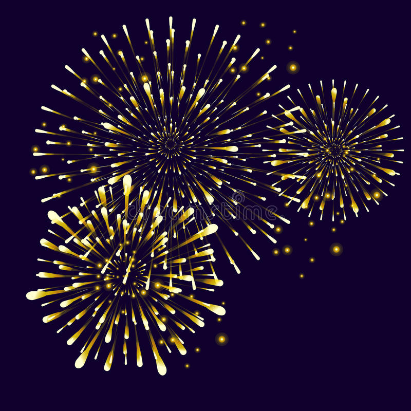 Fireworks. Realistic Gold Fireworks, Star burst elements isolated on night background. For celebrate Independence American Holiday, Memorial day, Labor Day royalty free illustration