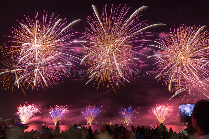 Fireworks Red Orange. Fireworks at the 2015 Skyfire event in Canberra Australia stock image