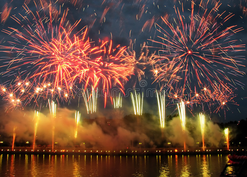 Fireworks with reflection royalty free stock photos
