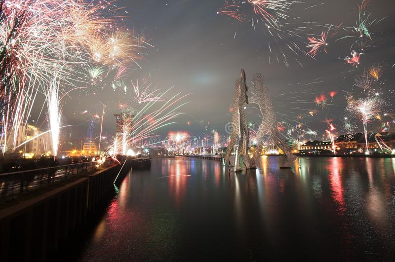 Fireworks, Reflection, Cityscape, Night stock photography