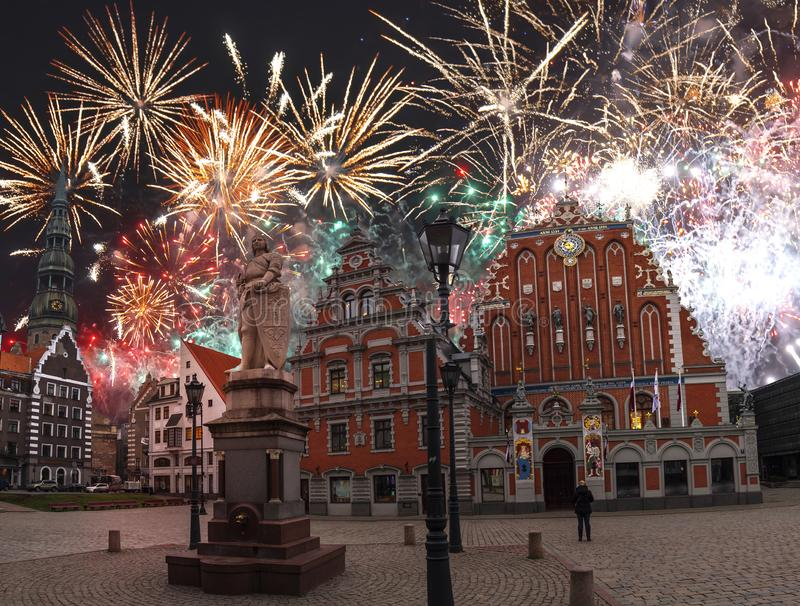 Fireworks in riga. Celebrating the new year 2020 royalty free stock photo