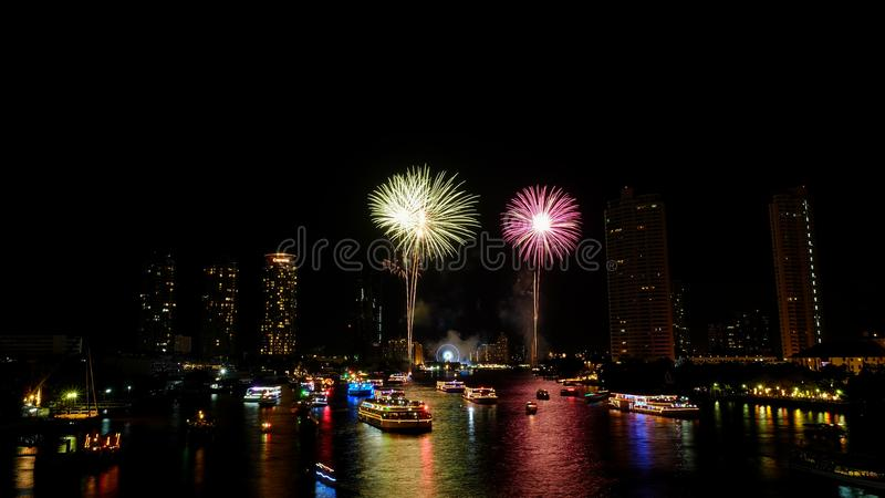 Fireworks by the river royalty free stock photography