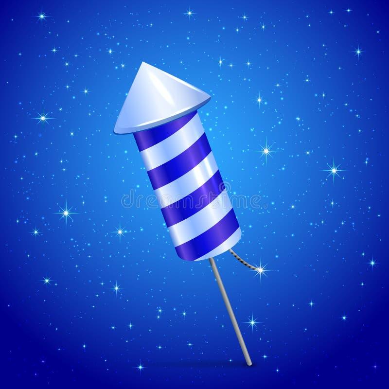 Fireworks rocket on blue background. Fireworks rocket on blue starry background, illustration vector illustration