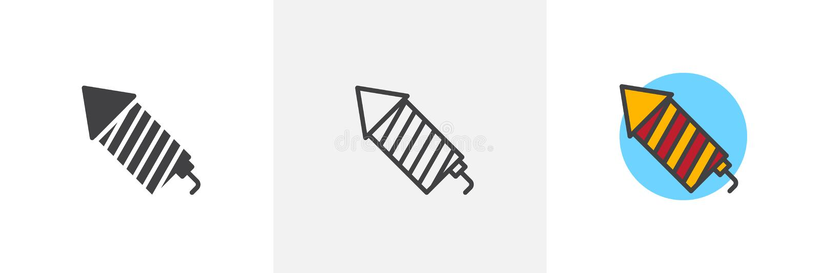 Fireworks rocket different style icons stock illustration
